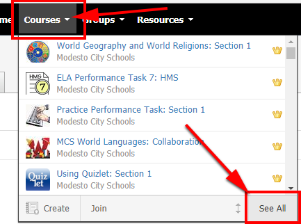 graphic showing See ALL in Schoology Course selection